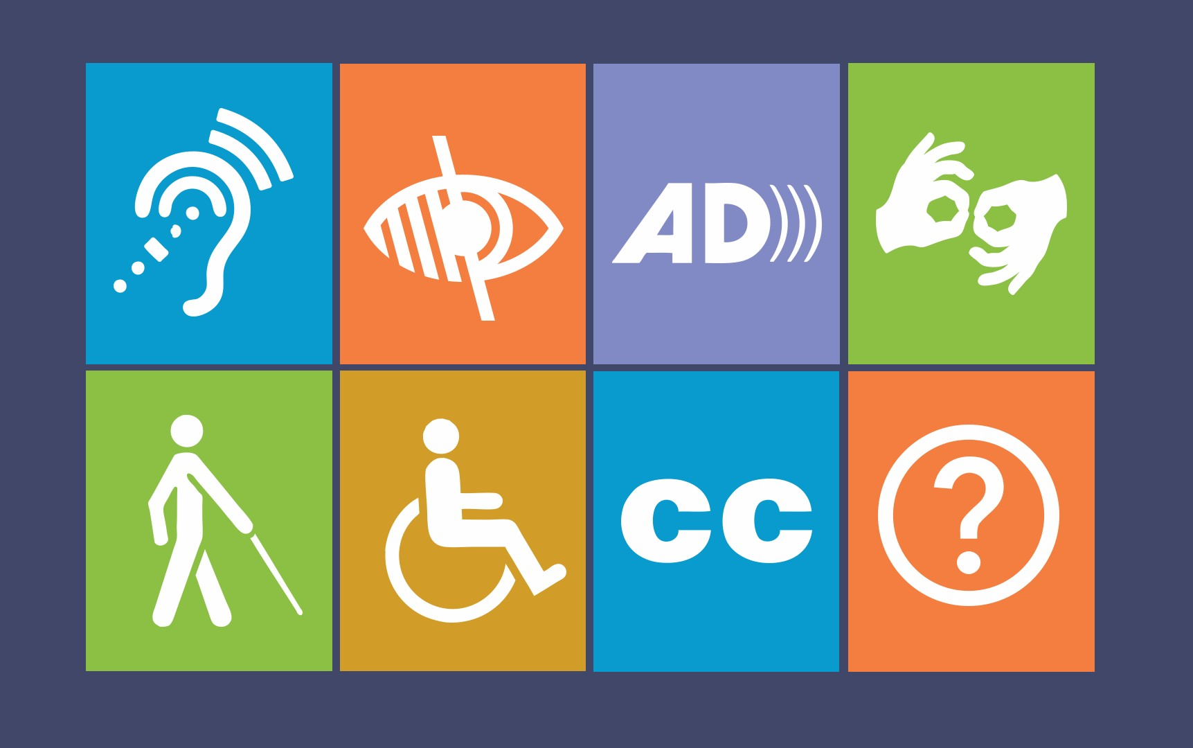 Disability icons: hearing, low vision, AD, sign language, blindness, physical disability, cc, information