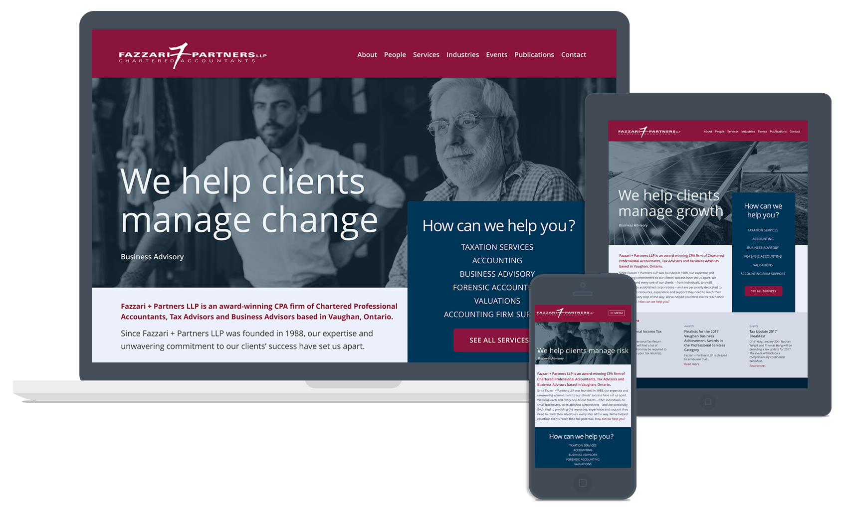 Homepage for Fazzari + Partners Chartered Accountants
